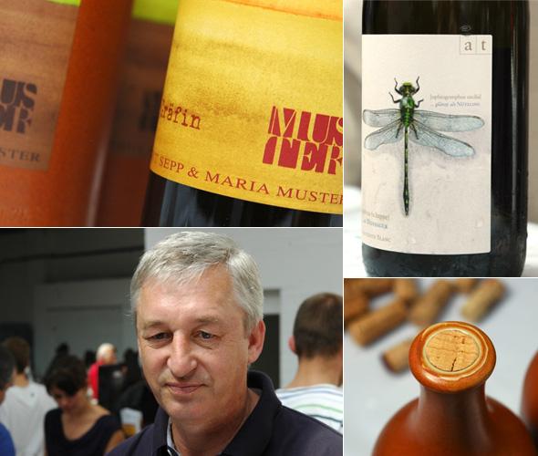 Sepp Muster, seine Weine und ein Etikett von Andreas Tscheppe