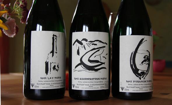 Drei Flaschen Purus-Riesling