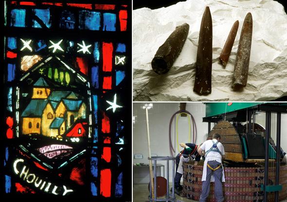 © links: Michel Jolyot, CIVC: Kirchenfenster in der Kathedrale von Reims, © rechts oben: Patrick Guerin: Kimmeridge-Kreide mit Belemnit-Fossilien sind typisch für die Côte, © rechts unten: Stéphane Coquilette: typische Coqard-Presse